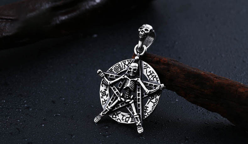 Punk Skull Stainless Steel Star Ball Necklace Selection