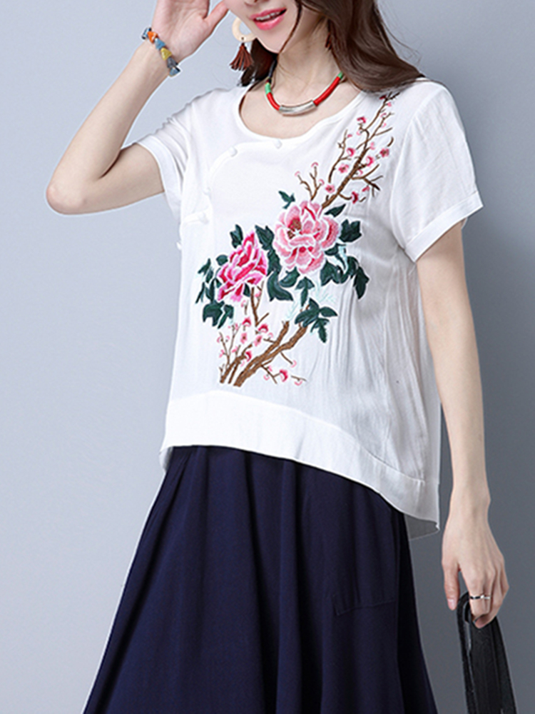 Folk Style Short Sleeve Floral Embroidery Women T-shirts