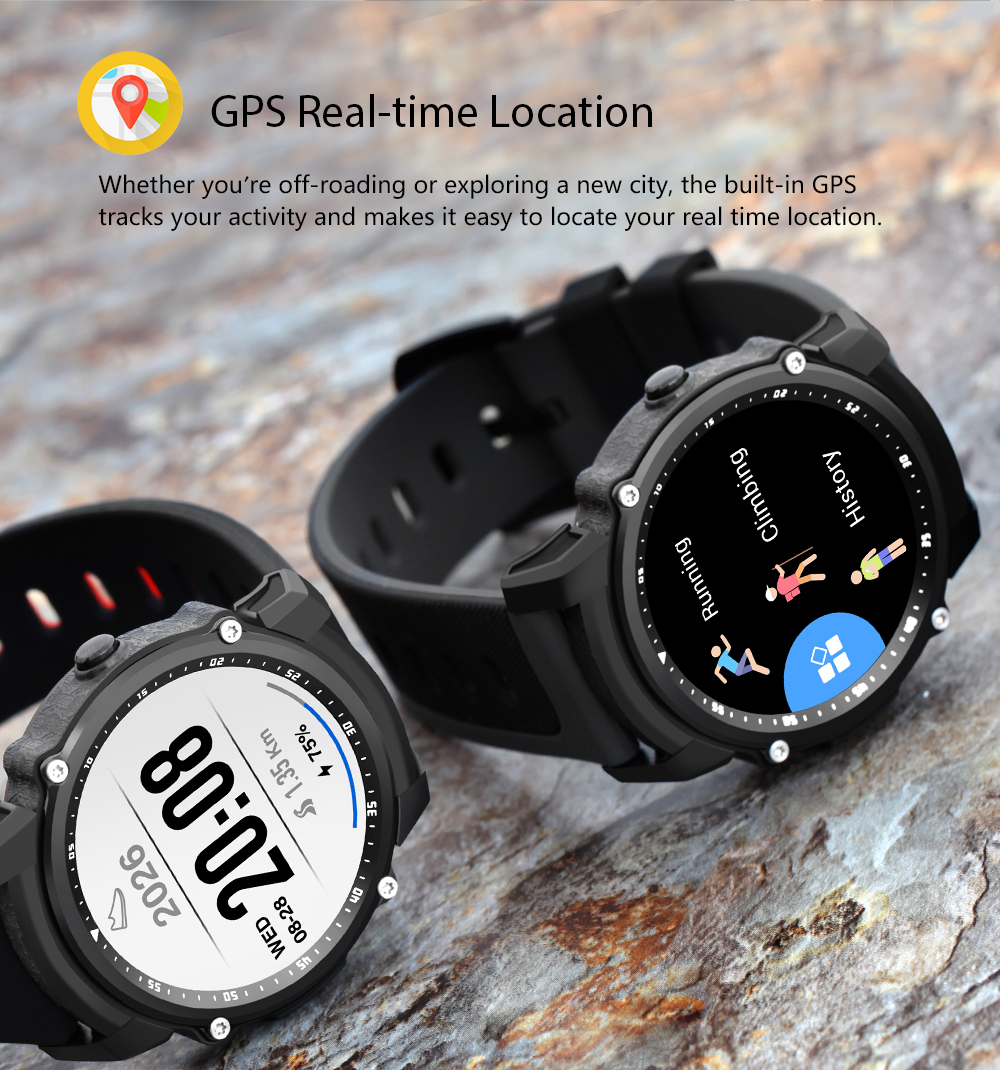 Kingwear FS08 Transflective TFT Screen 1.26inch GPS Heart Rate Monitor Pedometer Compass Smart Watch