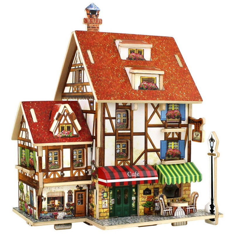 DIY 3D Wooden Puzzle France French Style Coffee House Buliding Model Kids Children Christmas Gift