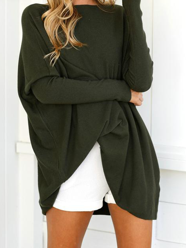 Plus Size Loose Crew Neck Solid Color Long Sleeve Blouse