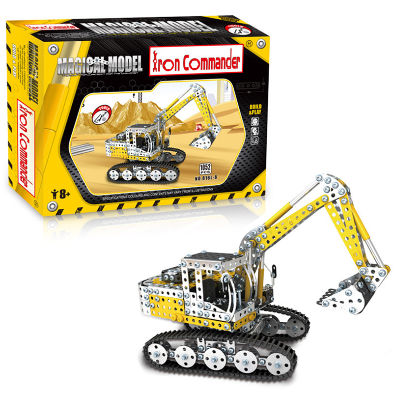 Image of 1052PCS Full Alloy Puzzles Bagger Modell Bausteine Spielzeug
