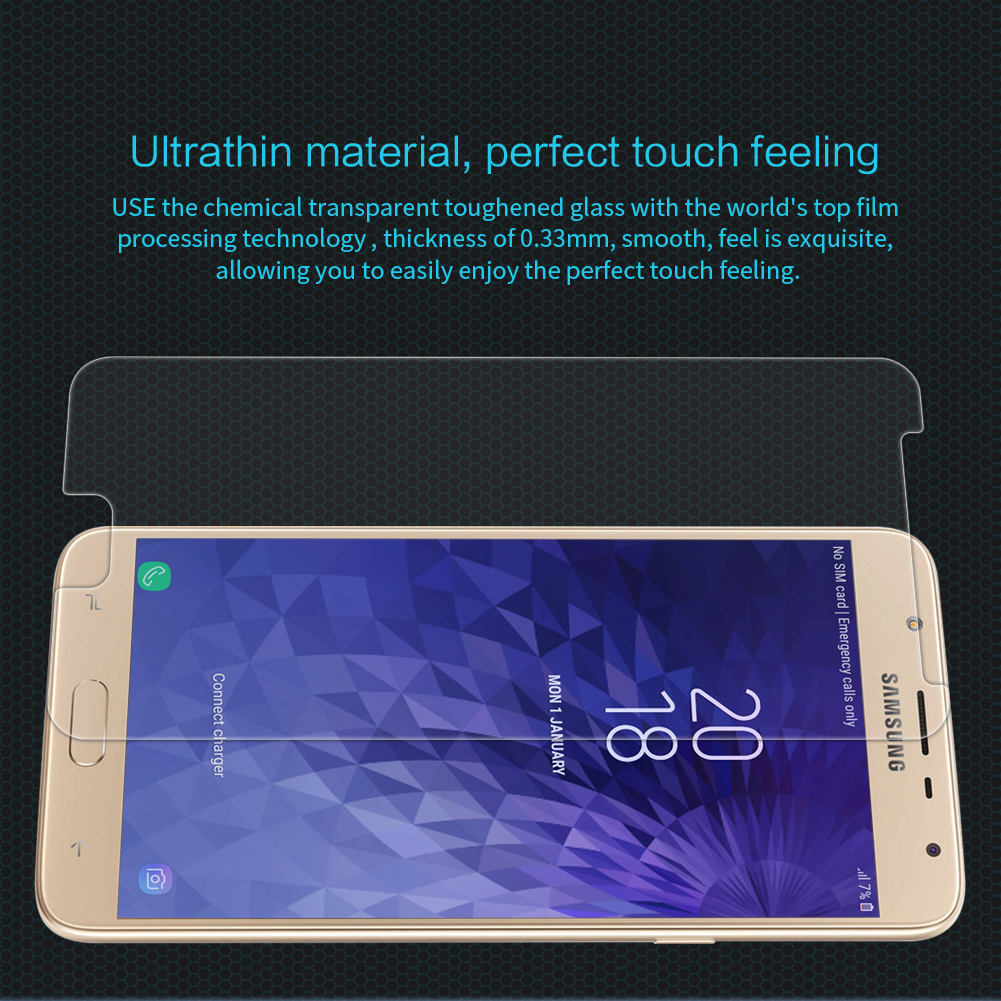 NILLKIN 0.33mm Anti-Explosion AGC Glass Screen Protector & Rear Lens Film for Samsung Galaxy J7 Duo
