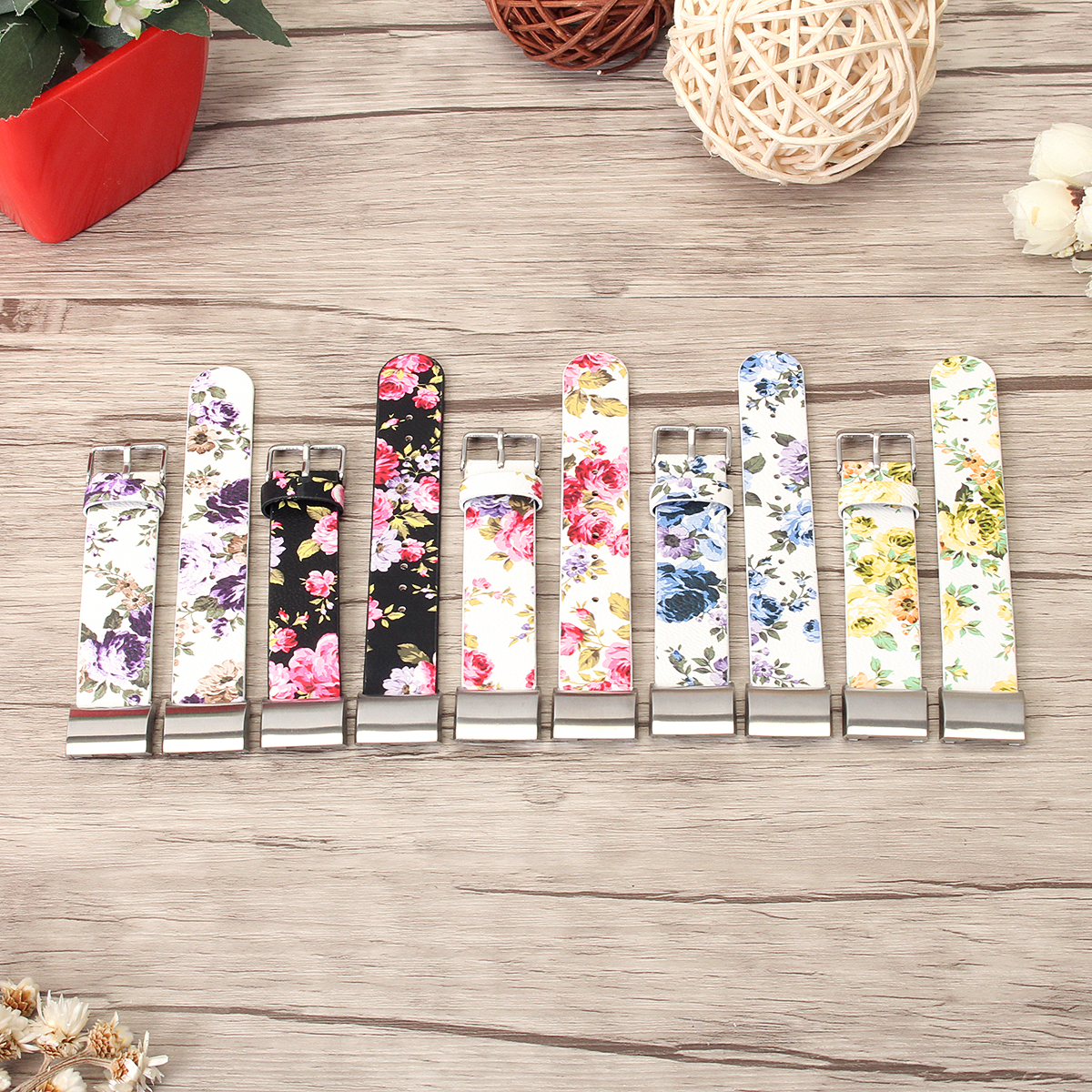 16mm Flower PU Leather Replacement Watch Band Strap for Fitbit Charge 2