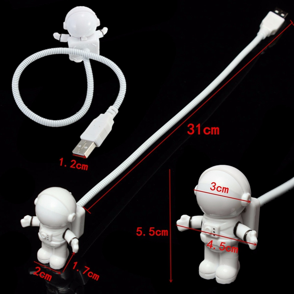 Adjustable Astronaut USB Tube LED Night Light Lamp For Macbook Air Pro Laptop PC