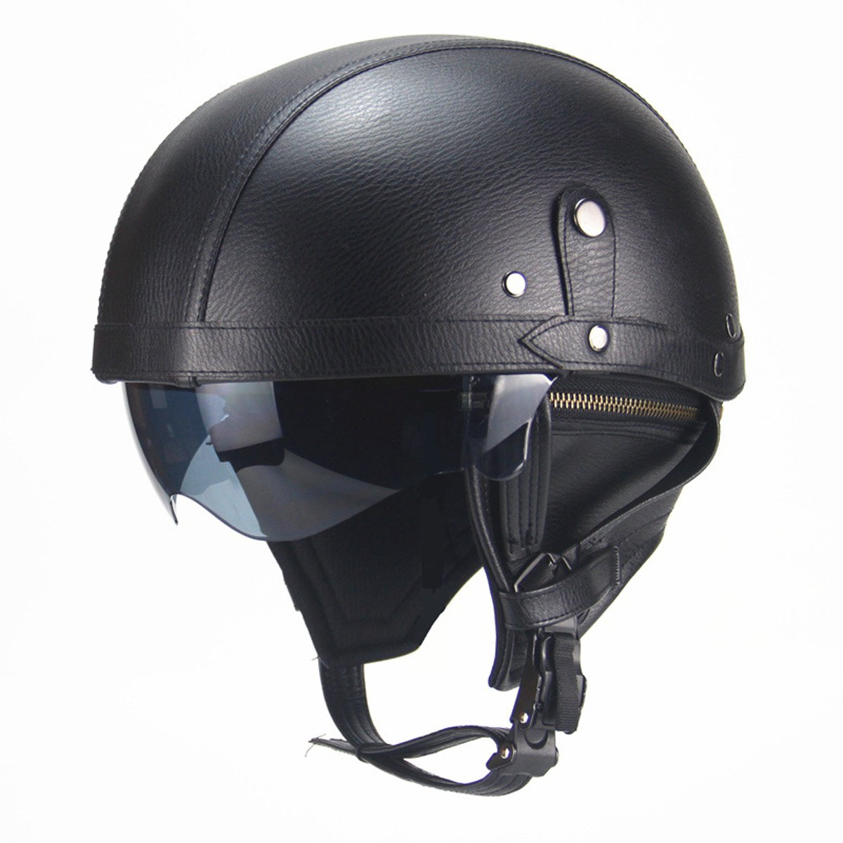 Retro PU Motorcycle Half Helmet Open Face With Visor Motorbike Scooter Cruise Safety
