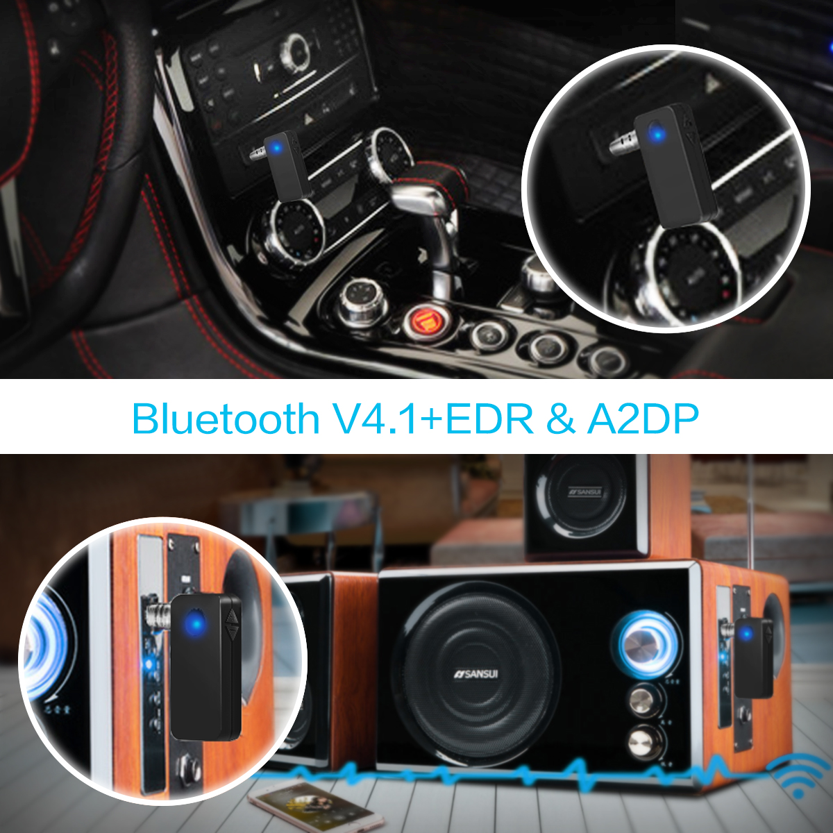 3.5mm bluetooth 4.1 Aux Audio Stereo Music Receiver Adapter