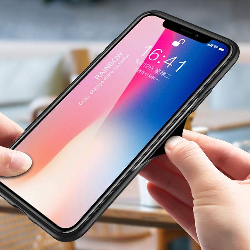 Laser Aurora Gradient Color Tempered Glass Protective Case for iPhone 6 Plus/6s Plus