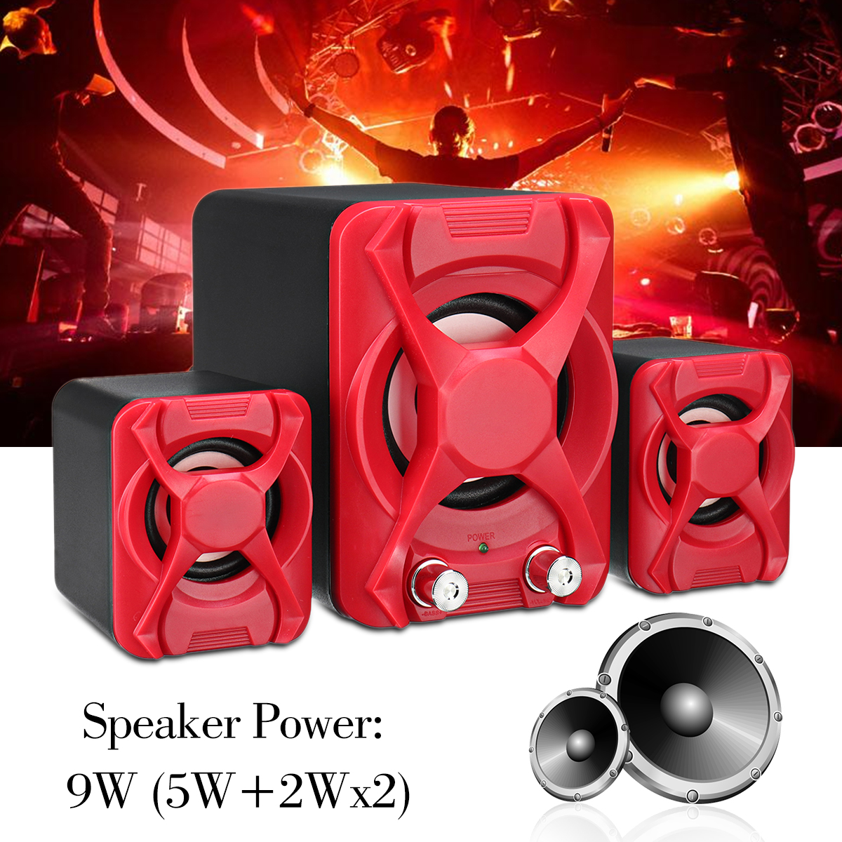 USB2.1 Mini Computer Speaker Heavy Bass Stereo USB Supply Speaker for Laptop Computer