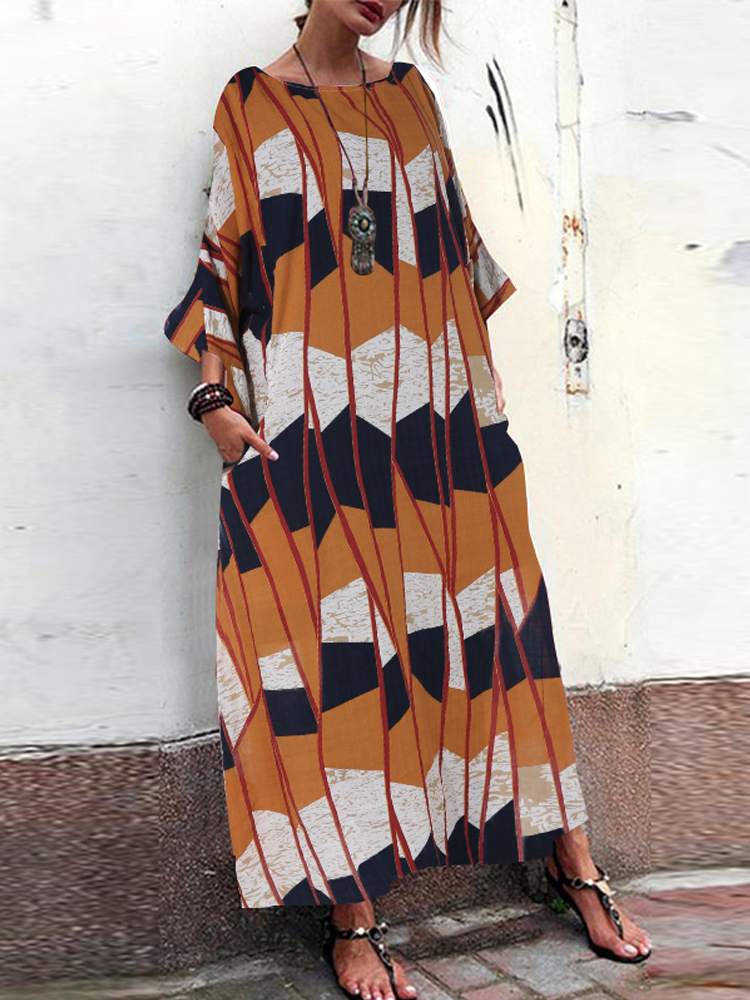 Crew Neck Side Pocket Floral Print Long Sleeve Maxi Dress