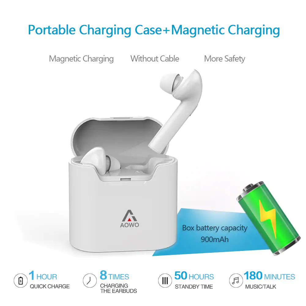 [True Wireless] AIR7E Dual bluetooth Earphone Portable Noise Cancelling Headphones with Charging Box