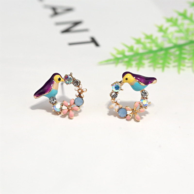 Ear Stud Earrings Coloful Flower Birds Teapot Asymmetric
