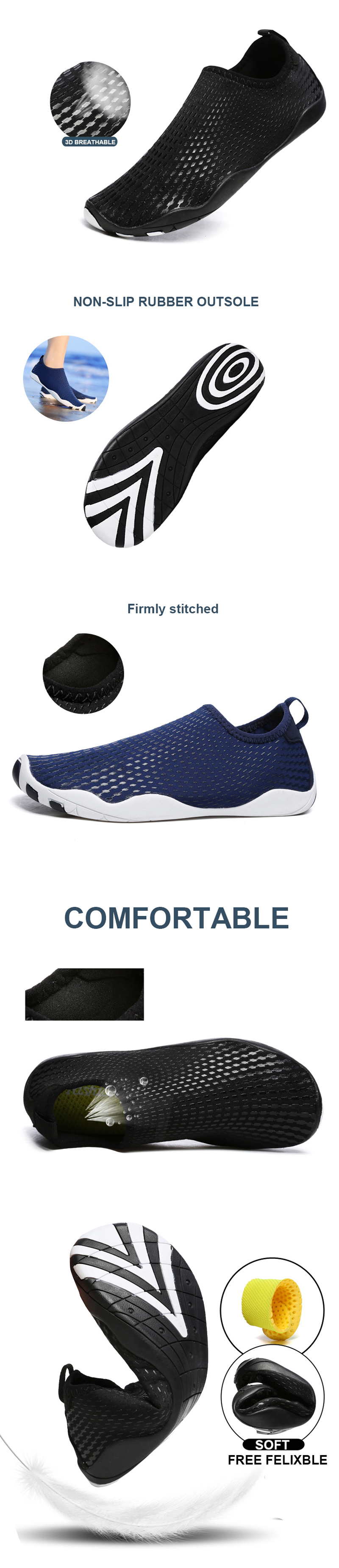 Y022 Men Summer Outdoor Anti-skid Slip-on Water Beach Trekking Walking Swimming Shoes Sneakers