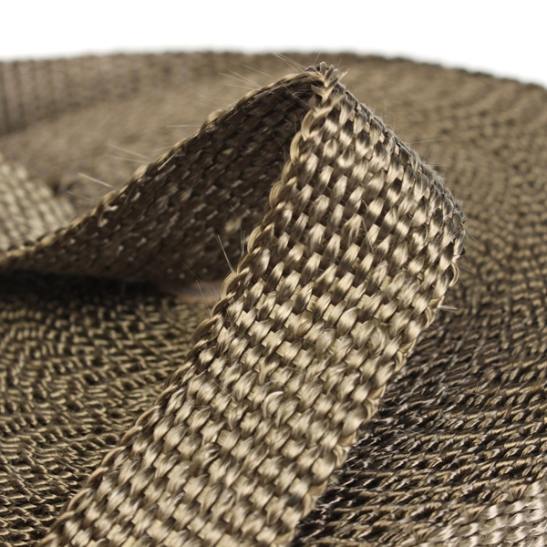 50mmx15m Exhaust Heat Wrap Insulation Pipe Tape Titanium Glass Fiber With 6 Stainless Ties