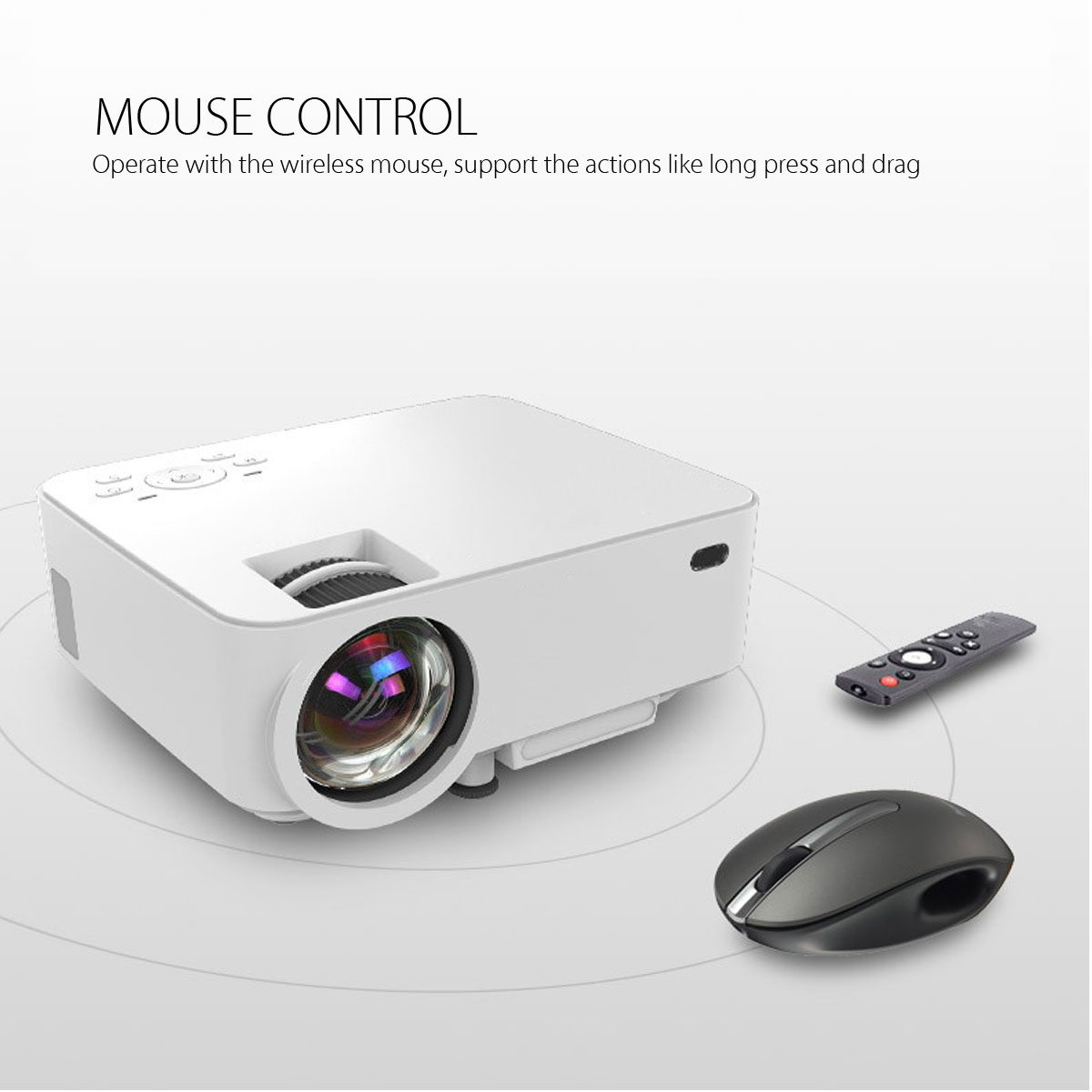 T20B Mini 8G Wireless WiFi 1500 800x480 Android LCD Projector Home Theater for Cell Phone TV PC
