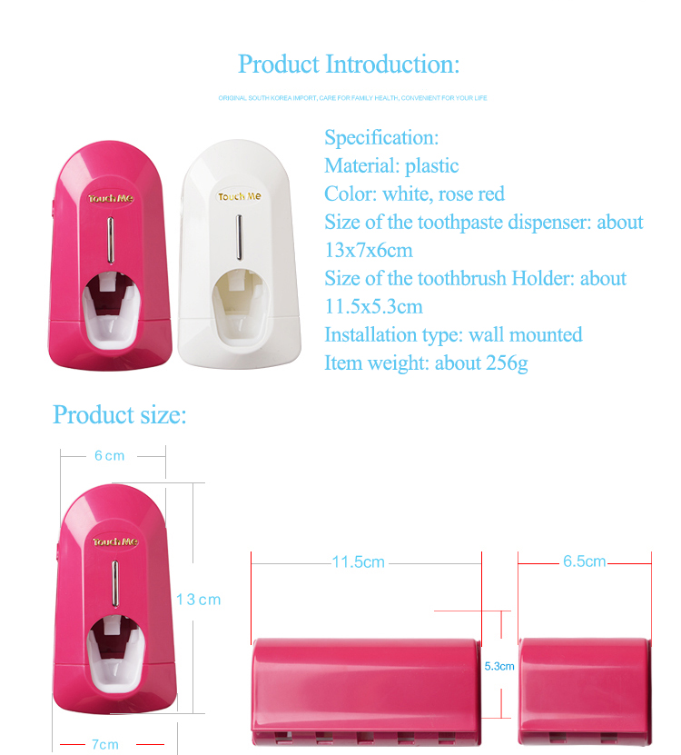 Plastic Automative Toothpaste Squeezer With Toothbrush Holder Bathroom Set