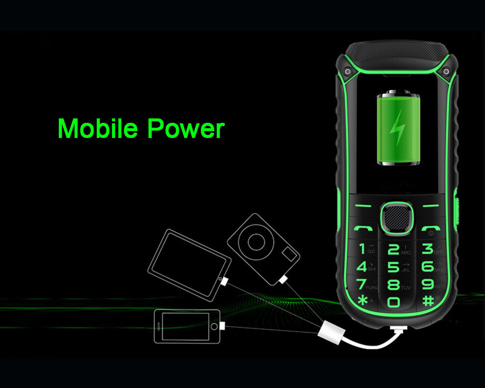 A5000+ 1.77 Inch 4400mAh OTG Flashlight bluetooth MP3 MP4 Dual Sim Card Outdoor Rugged Phone
