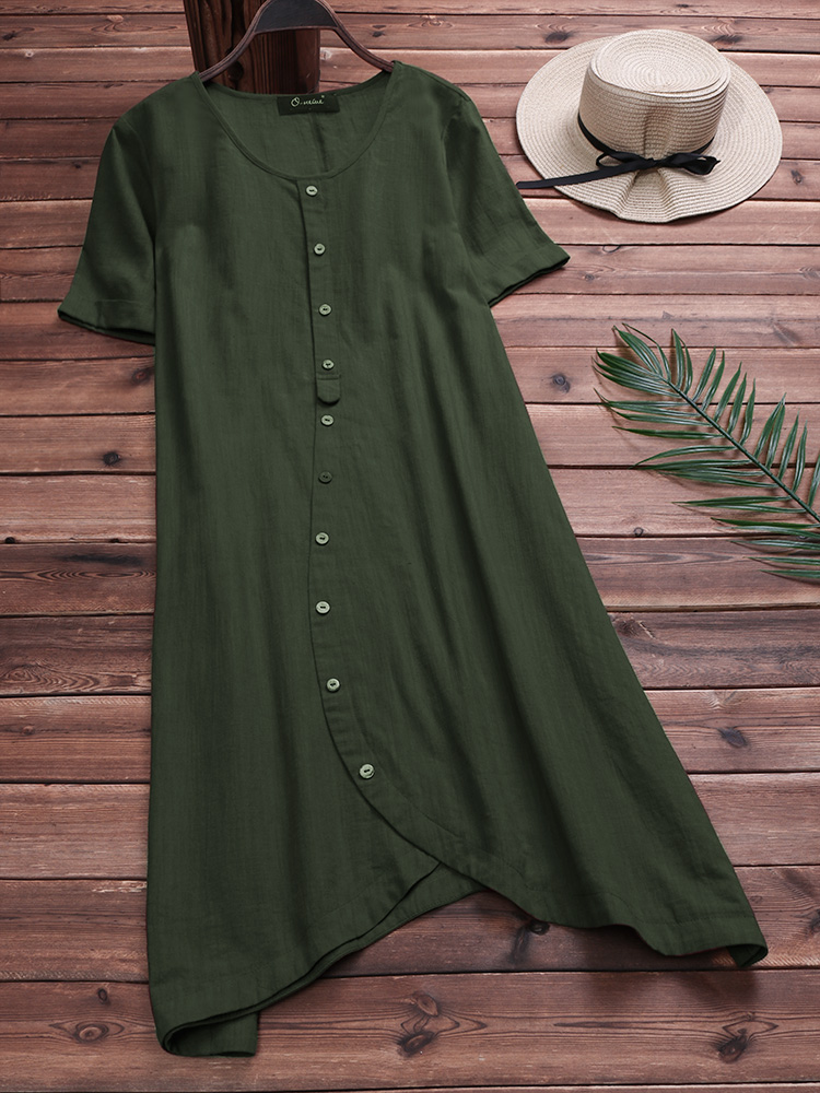 Casual Asymmetrical Short Sleeves Cotton Dress
