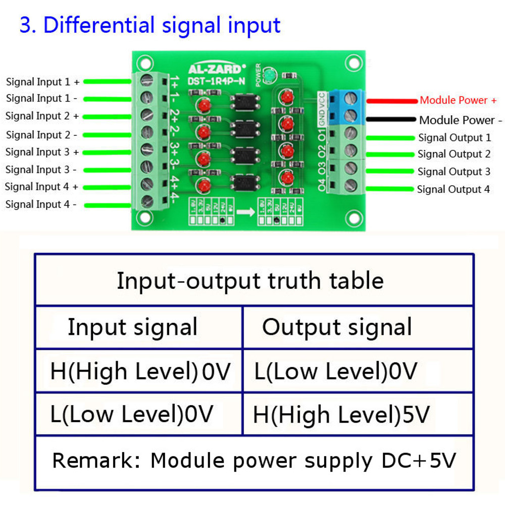 24V To 5V 4 Channel Optocoupler Isolation Board Isolated Module PLC Signal Level Voltage Converter Board 4Bit