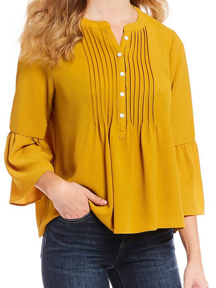 Women Button Doll Collar Ruffle Cuffs V-Neck Tops