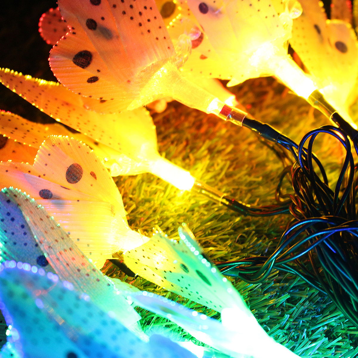 Solar Powered 5M 20LEDs Butterfly Colorful Fairy String Lights for Patio Yard Garden Christmas