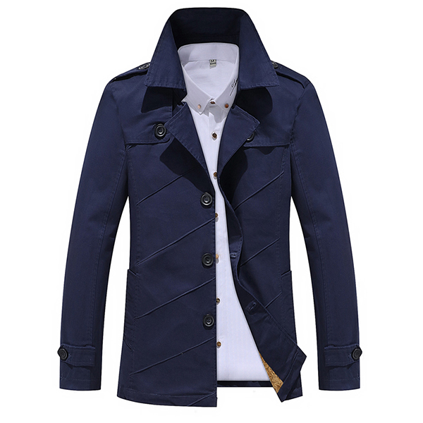 Mens Turn-down Collar Trench Coat Solid Color Fashion Cotton Washed Single-breaseted Jacket