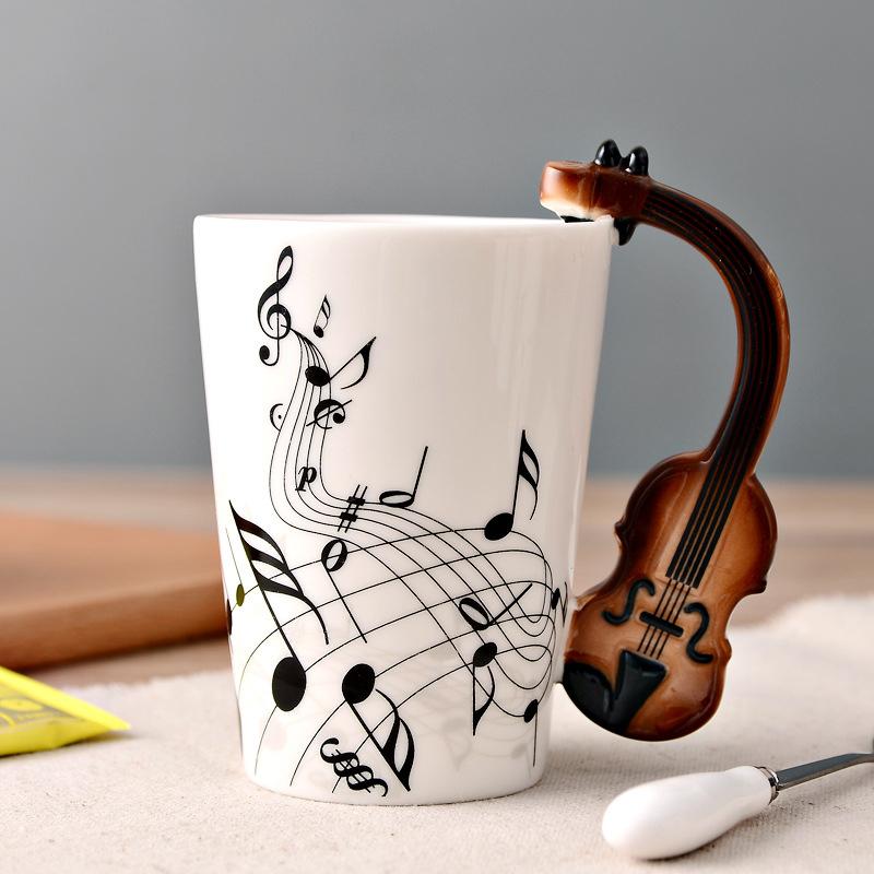 Minleaf Novelty Guitar Ceramic Cup Music Note Milk Juice Lemon Mug Coffee Tea Cup Home Office Drinkware