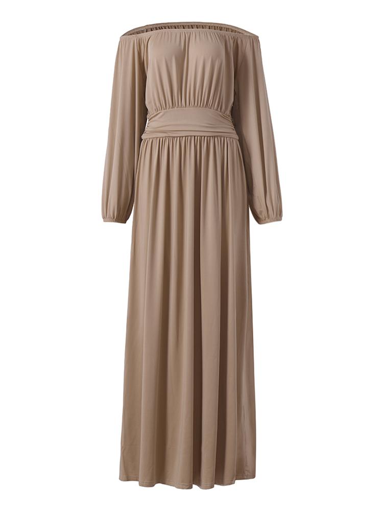 Maxi Jurk Lange Mouw.Elegante Lange Lange Mouw Vintage Taille Pleated Women Maxi Dress
