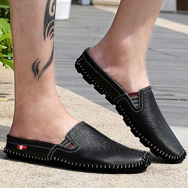 Slipper Shoes Men Hollow Out Casual Sandals In Leather