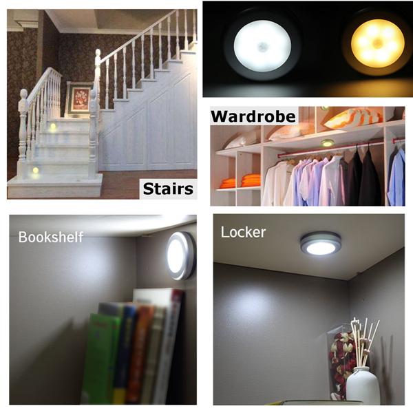 3pcs Battery Powered PIR Motion Sensor 6 LED Night Light White/Warm White Lamp for Hallway Cabinet