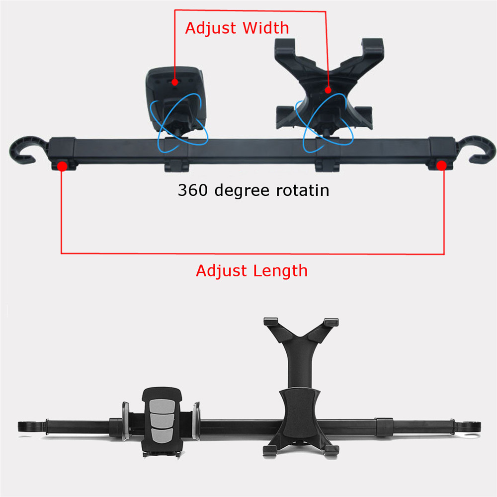 360° Dual Seat Holder Mount Stand For Pad Rotating Auto Headrest Car For Phone iPad Tablet