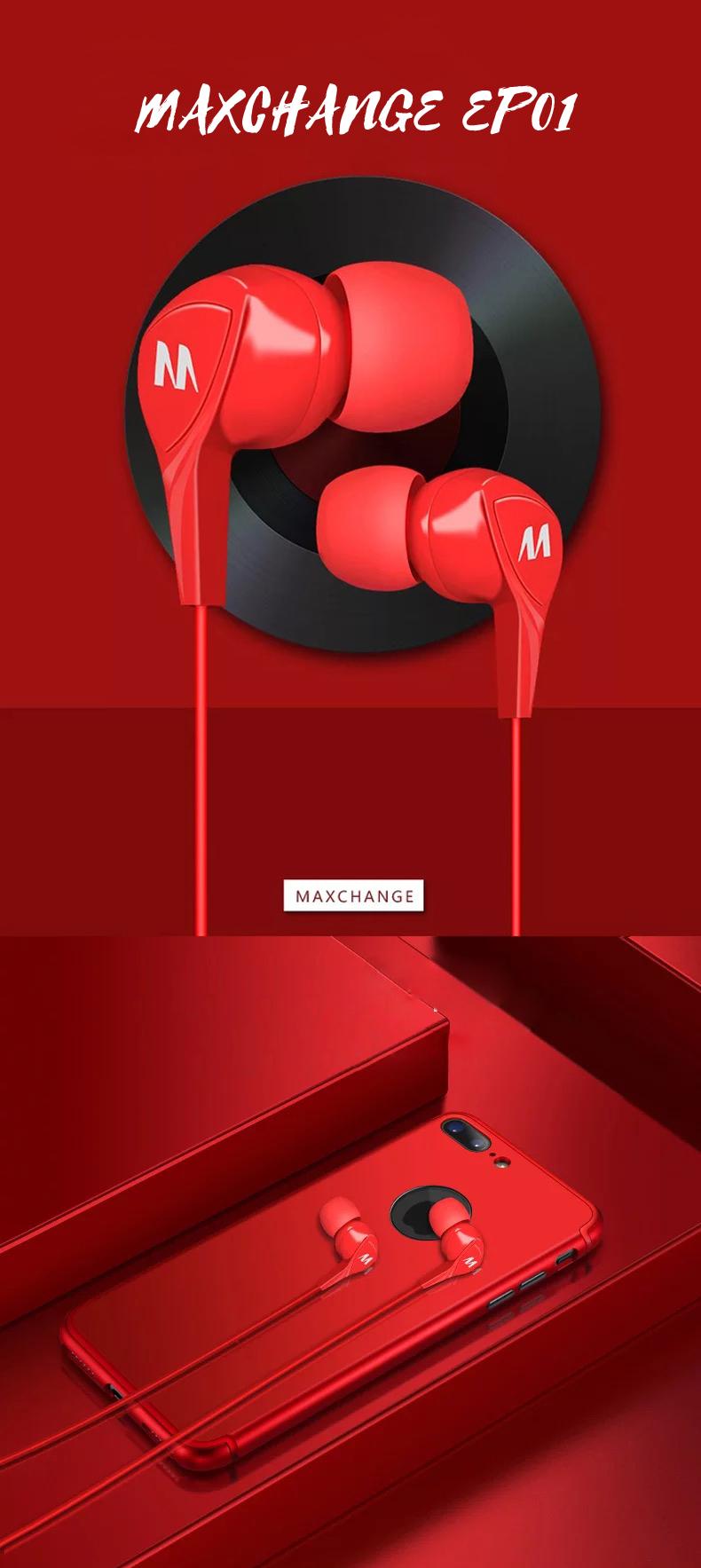 Maxchange EP01 3.5mm Stereo In-Ear Earphone Red White
