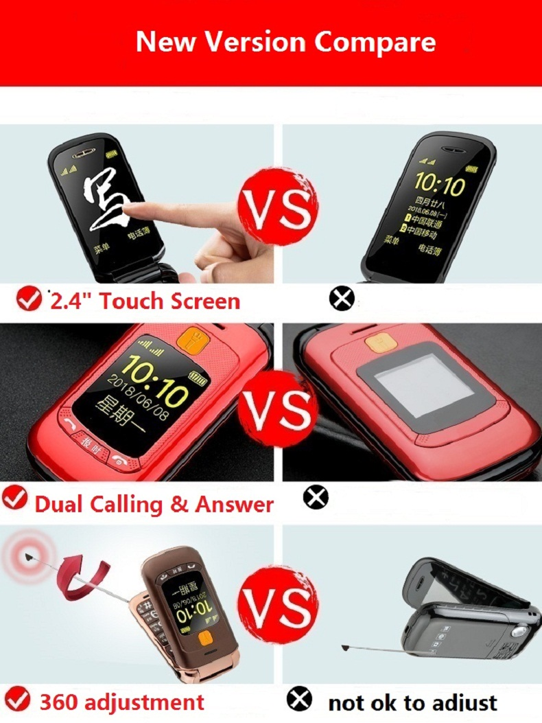 GZONE F899 2.4 inch Handwriting Touch Screen 2800mAh FM Vibration Loud Volume Flip Feature Phone