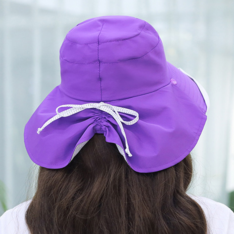 Women Summer Cotton Sunshade Sun Protection Bucket Cap