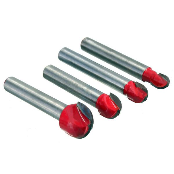 4pcs 1/4 Inch Shank Round Nose Router Bit Trimmer Cutter Accessories
