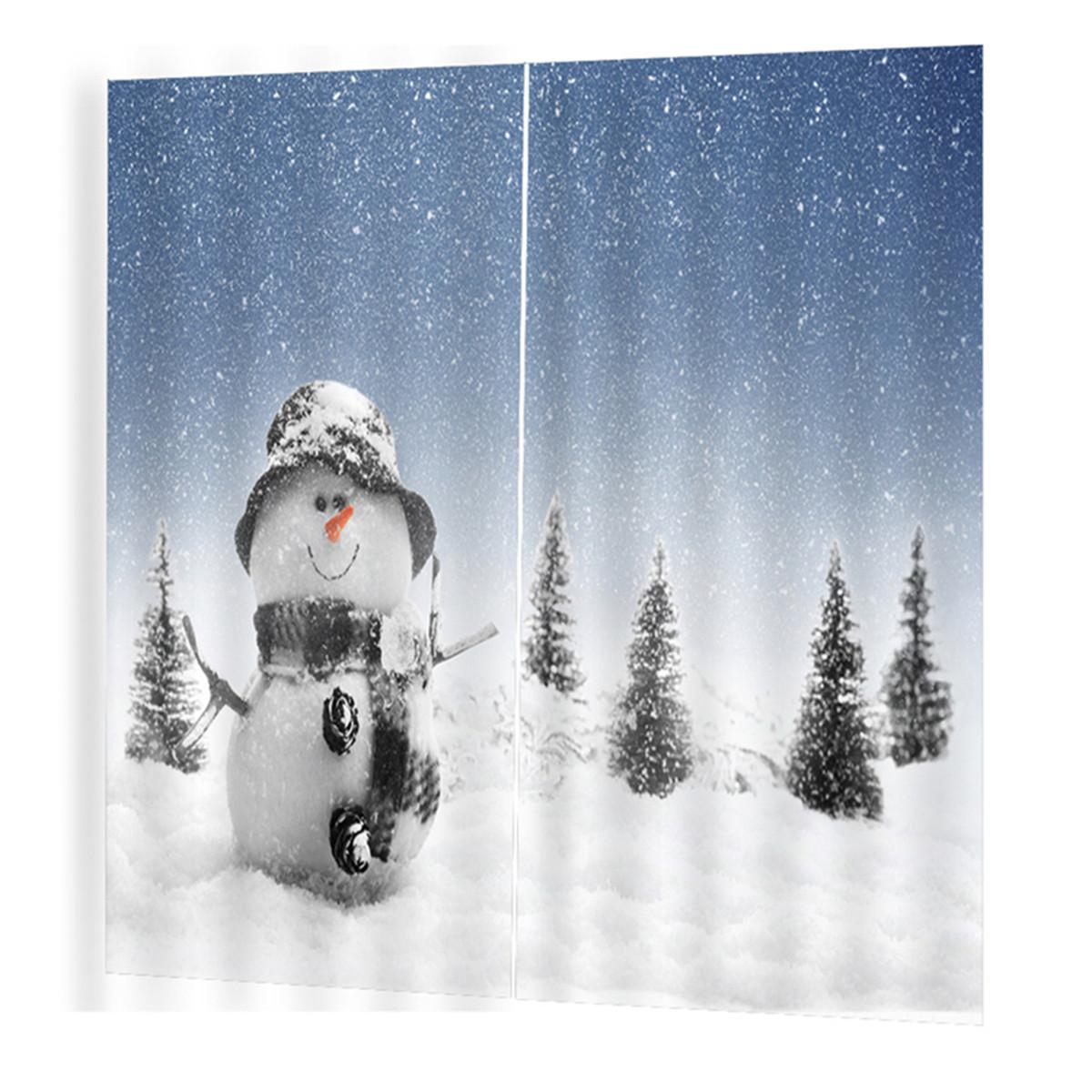 2PCS 3D Shower Curtain Print Window Curtain Door Screen Panel for Christmas Decoration