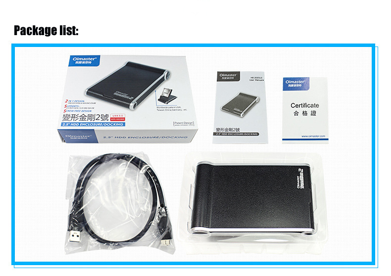 High Speed USB 3.0 External Hard Drive Enclosure Station for 2.5 Inch HDD SSD For Laptop Desktop