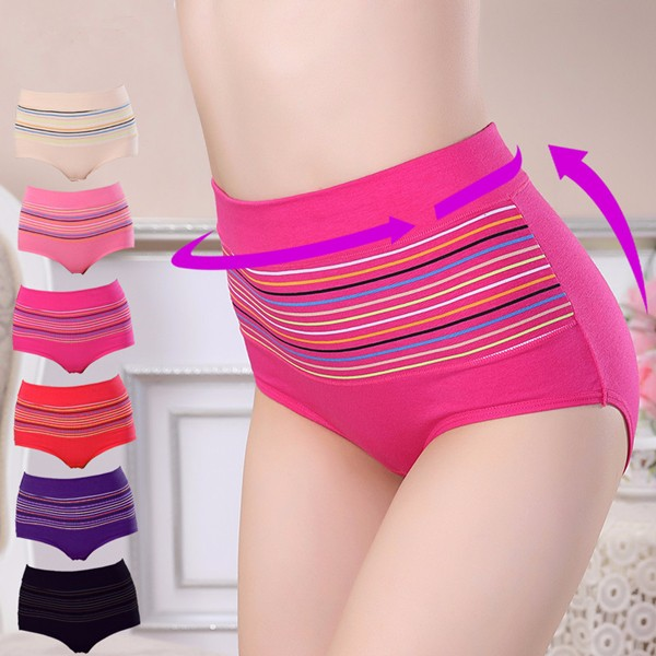 Women Comfy Striped High Waist Menstrual panties
