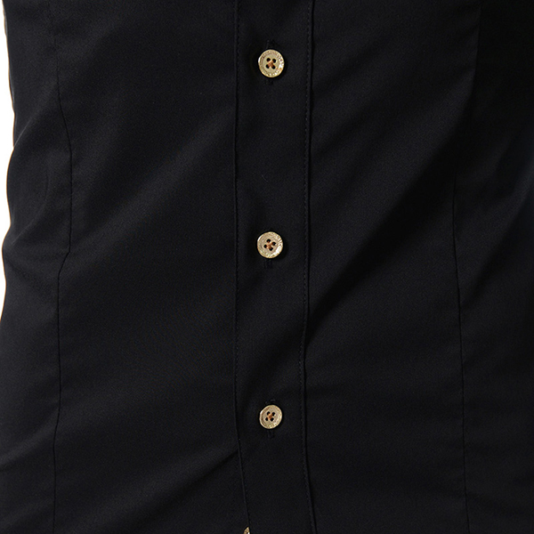 Stand Collar Golden Button Long Sleeve Button up Stylish Band Collar Shirt Dress Shirt for Men