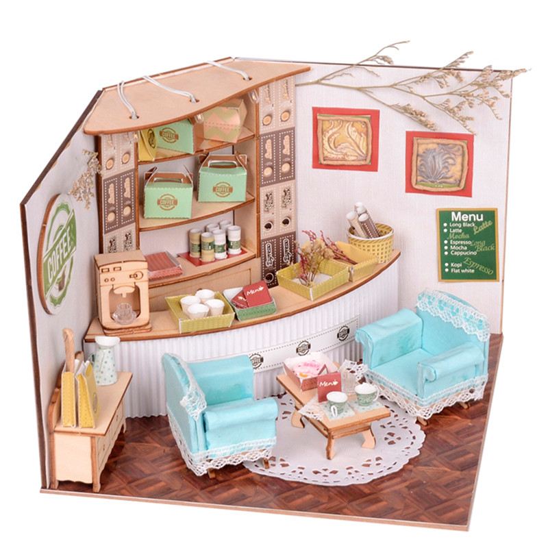 Sweet Home Colombian Coffee House Room DIY Dollhouse Kit With LED Light Wood Decoration
