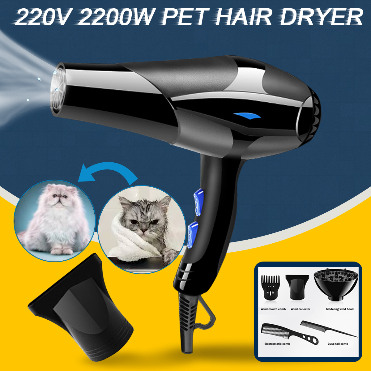 220V 2200W Electric Hair Dryer Blow Dryer Infrared Ionic Salon Use For Bathroom Living Room