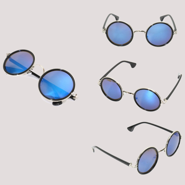 Men Women Vintage Sunglasses Colored Mirror Lens Steampunk Round Frame Glasses