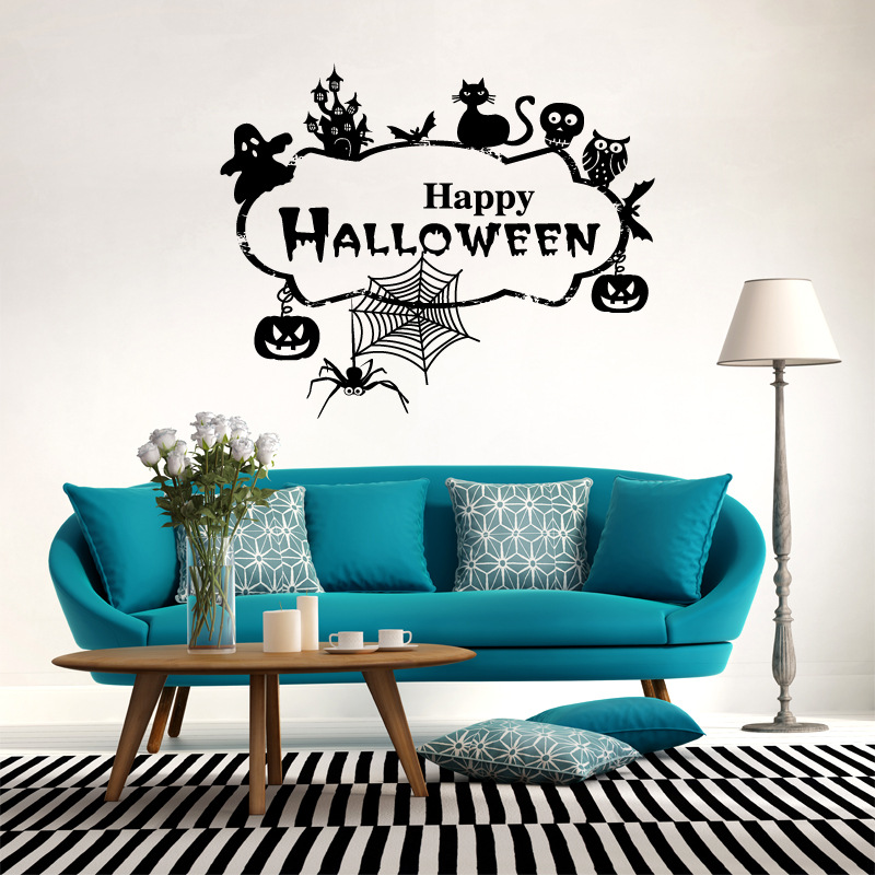 Hallowen Witch Tree Ghost Glass Window Decor Wall Sticker Party House Home Decoration Creative Decal DIY Mural Wall Art Sticker