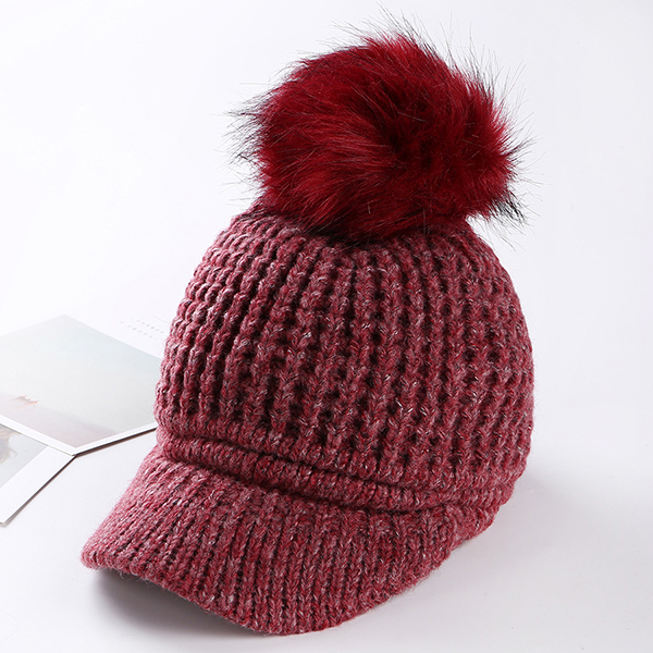 Women Pompom Knitted Baseball Cap Casual Winter Warm Plush Lining Woolen Caps