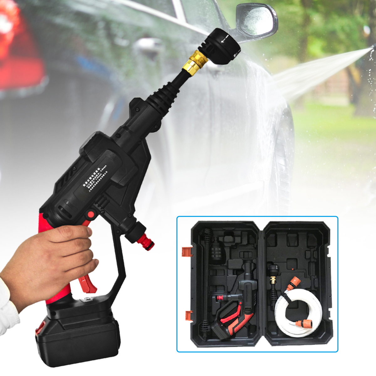 Multifunctional Cordless Pressure Cleaner Washer Gun Water Hose Nozzle Pump with Battery