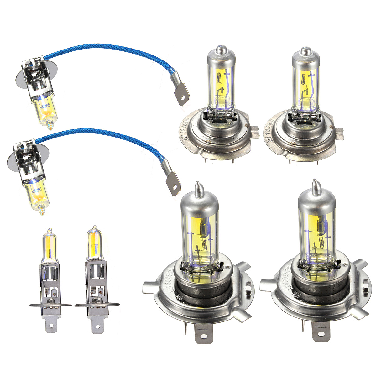 Car Halogen Headlights Bulbs H1 H3 H4 H7 Driving Fog Lamp 60/55W 12V Amber 2Pcs