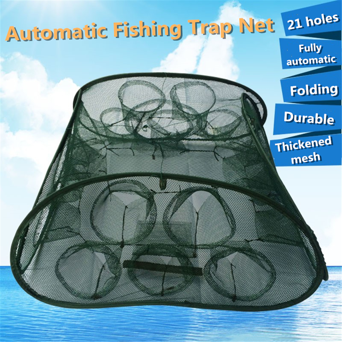 Folding Portable Automatic Fishing Net Minnow Shrimp Crab Baits Cast Mesh Trap