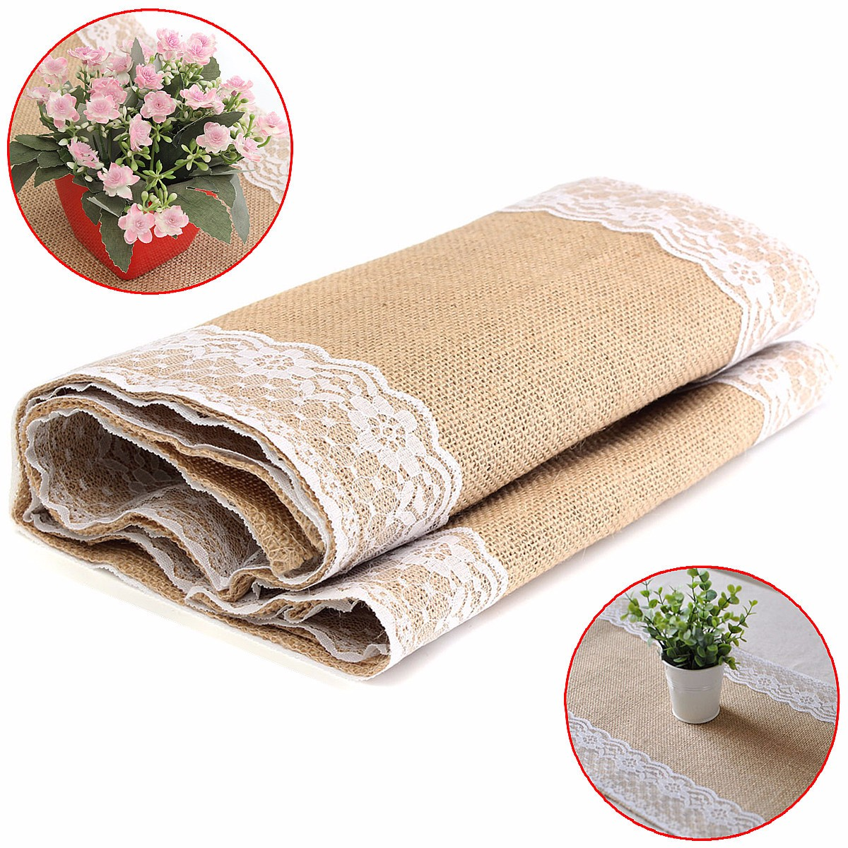 30x180cm Natural Vintage Burlap Lace Tablecloth Runner Elegance Chair Yarn Chrismas Party Decor