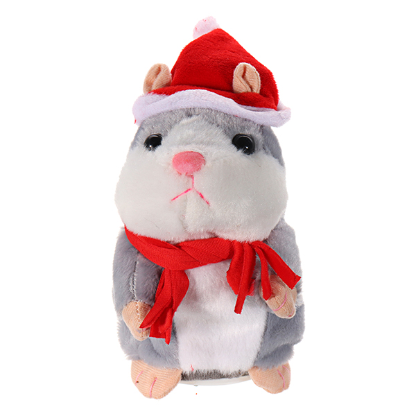 90464019ee57 18CM Lovely Talking Hamster Christmas Plush Toy Speak Talking Sound Record  Hamster ... (COLOR: GREY)