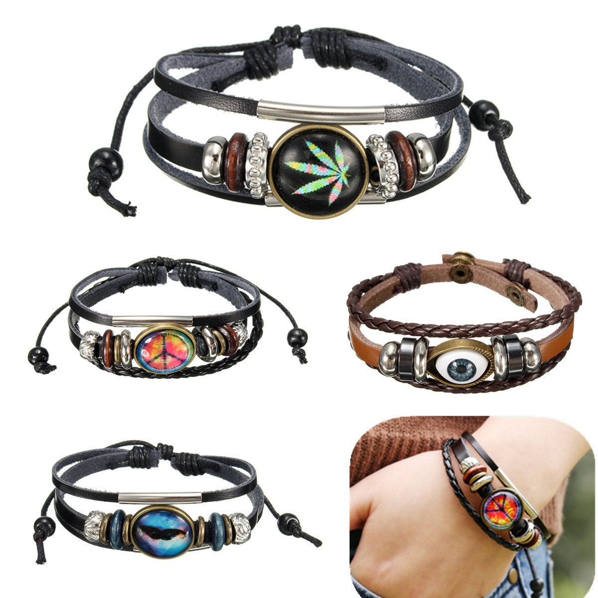Men Women Genuine Leather Bracelet Jewelry Eye Leaf Wristband